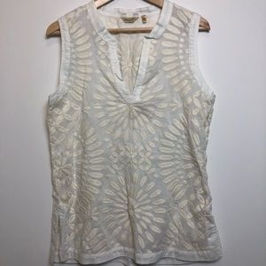 True Grit Sleeveless Top Cream Embroidered size s